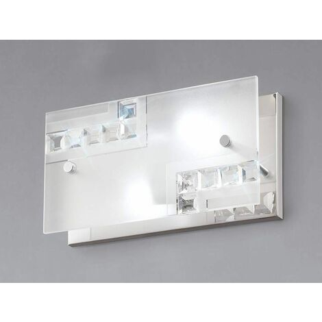 Starlet wall light with switch 2 lights polished chrome / glass / crystal
