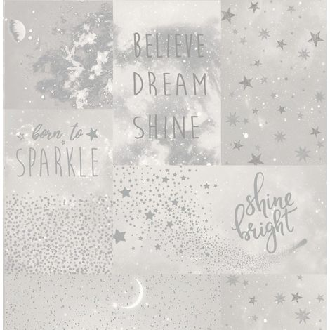 Starlight Stars Wallpaper Typography Phrases Grey Silver Metallic Shimmer Girls