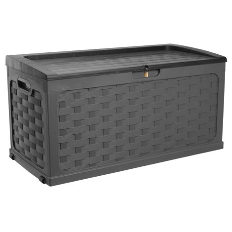 Starplast Rattan Style Chest Box With Sit-On Lid 56-811 Black