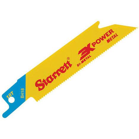 Starrett STRB4185 B418-5 Bi-Metal Reciprocating Blade Metal Straight 100mm 18 TPI (Pack 5)
