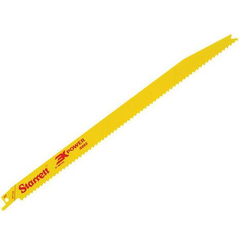 Starrett STRBT1265 BT126-5 Bi-Metal Reciprocating Blade Wood Tapered 300mm 6 TPI (Pack 5)