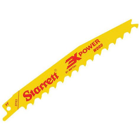 Starrett STRBT635 BT63-5 Bi-Metal Reciprocating Blade Wood Tapered 152mm 3 TPI (Pack 5)