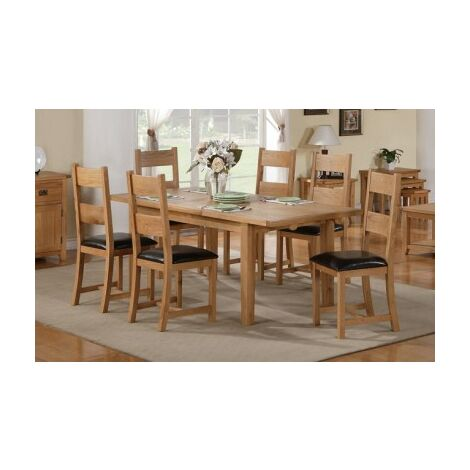Starry Oak Table And 6 Padded Chairs - Extending