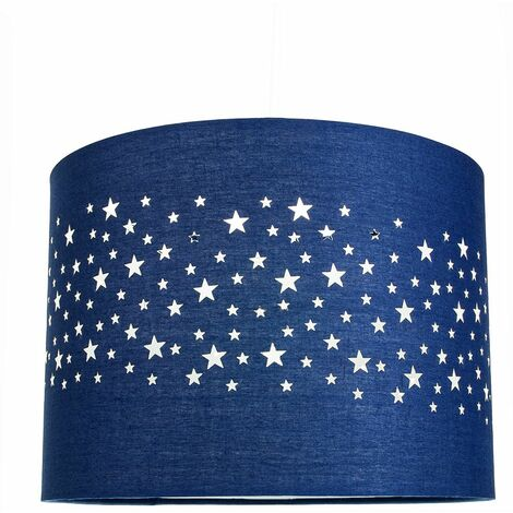 Stars Decorated Children/Kids Midnight Blue Cotton Bedroom Pendant or Lamp Shade by Happy Homewares