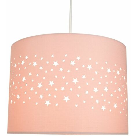 Stars Decorated Children/Kids Soft Pink Cotton Bedroom Pendant or Lamp Shade by Happy Homewares