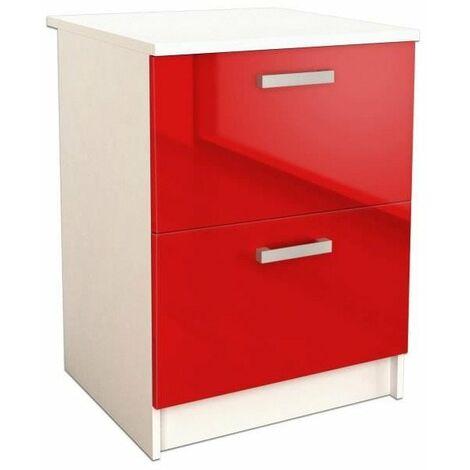 START Caisson bas de cuisine L 60 cm avec plan de travail inclus - Rouge Brillant