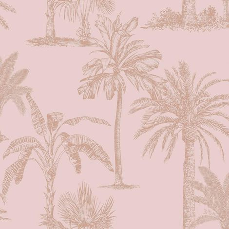 Statement Glistening Tropical Tree Blush Pink Wallpaper
