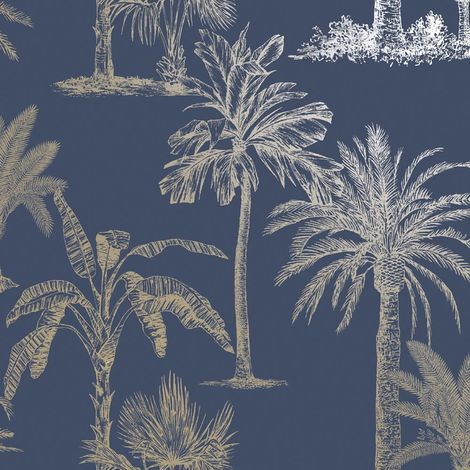 Statement Glistening Tropical Tree Navy Wallpaper