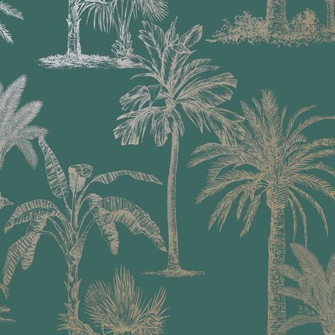 Statement Glistening Tropical Tree Teal Wallpaper