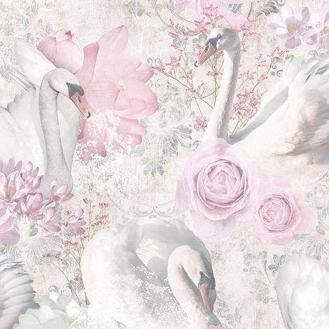 Statement Glitter Swans Pink Wallpaper