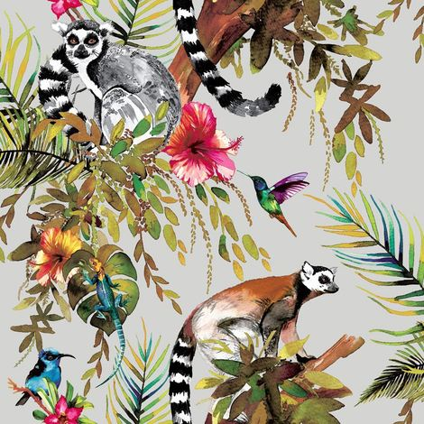 Statement Lemur Silver Wallpaper