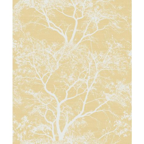 Statement Whispering Trees Yellow Wallpaper