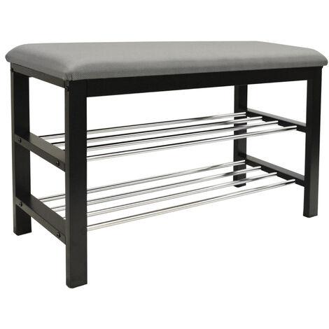 STATIC - 2 Tier Shoe Storage Hallway Bench with Padded Seat - Black / Grey