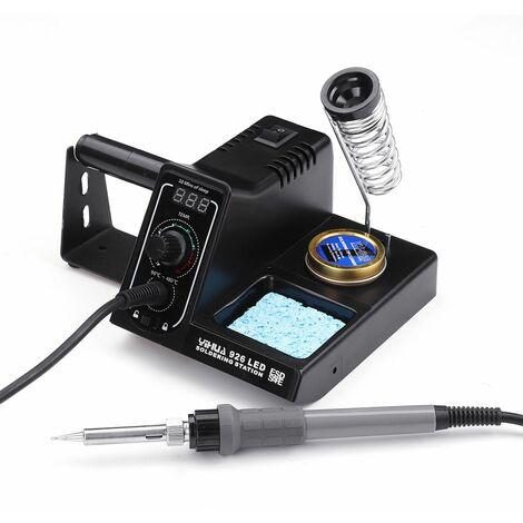 Station de fer à souder électrique 60W Rework de soudure 90-480 ℃ Fer à souder à température réglable (noir, prise UE 110V)