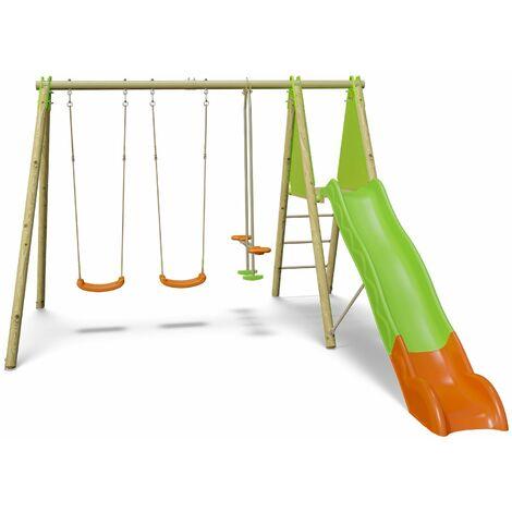 Station de jeux bois poutre métal TECHWOOD OPTIMA Trigano 2,30 m + toboggan 5 enfants