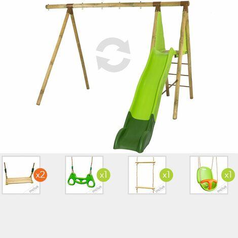 Station de jeux en bois évolutive BOREL TRIGANO 2,30 m. + toboggan 4 enfants - 6 agrès inclus
