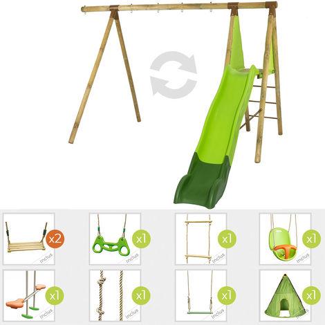 Station de jeux en bois évolutive HAZEL TRIGANO 2,30 m. + toboggan 7 enfants - 11 agrès inclus