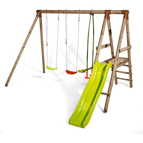 Station en bois traité pour enfant 3 agrès et toboggan - Sedelle
