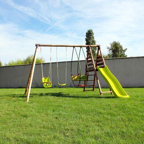 Station pour enfant avec portique et toboggan - Fougere