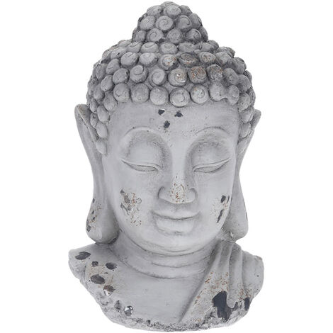 "main image of ""Statua decorativa testa Buddha in cemento argento effetto vintage cm.10x9x16h. - Argento"""
