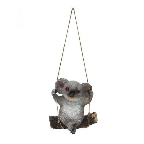 Statua di ornamenti da giardino con animali altalena in resina koala da 29 cm con corda appesa