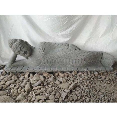 Statue Bouddha allongé pierre volcanique extérieur zen 1m50