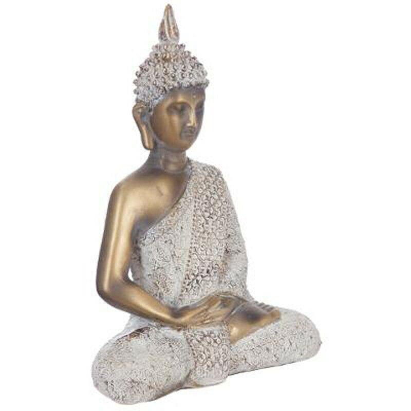 Statue Bouddha Assis 27cm Or & Blanc