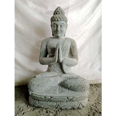 Statue Bouddha assis en pierre volcanique Prière Jardin zen 80cm