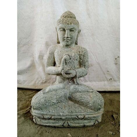 Statue Bouddha assis pierre volcanique en chakra 50 cm