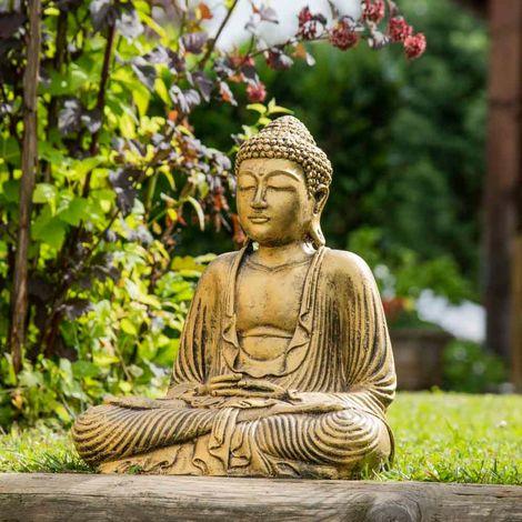 Statue Bouddha assis position offrande doré 42 cm - 2972