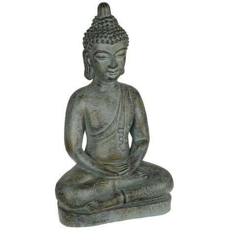Statue Bouddha assis Yazu grand modèle Atmosphera - Gris