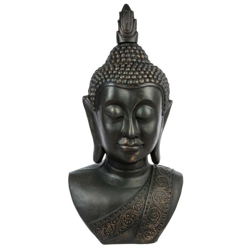 Statue Bouddha Tête Souriante 113cm Noir