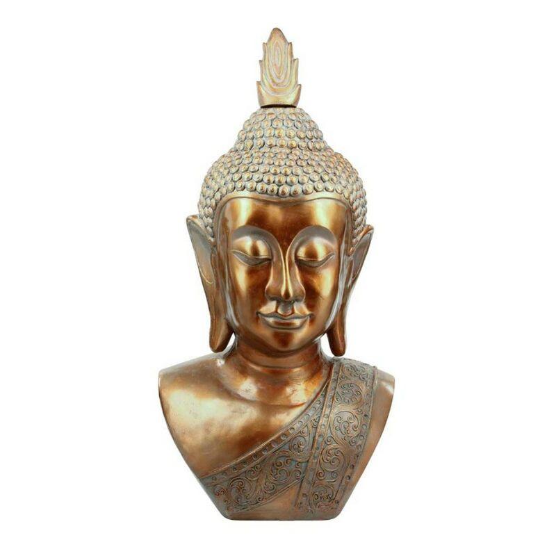 Statue Déco Tête de Bouddha 113cm Cuivre