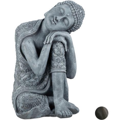 Statue de Bouddha figurine de Bouddha décoration jardin sculpture céramique Zen 60 cm, gris clair