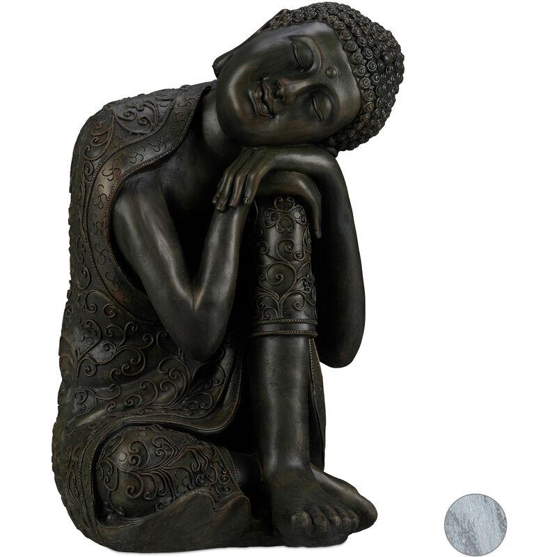 Statue de Bouddha figurine de Bouddha décoration jardin sculpture céramique Zen 60 cm, gris foncé