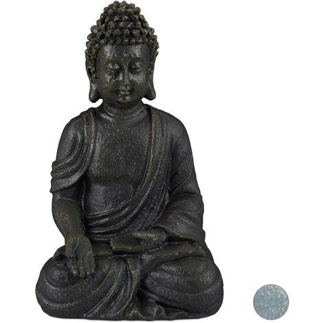 Statue de Bouddha figurine de Bouddha décoration jardin sculpture Zen 30 cm, gris foncé