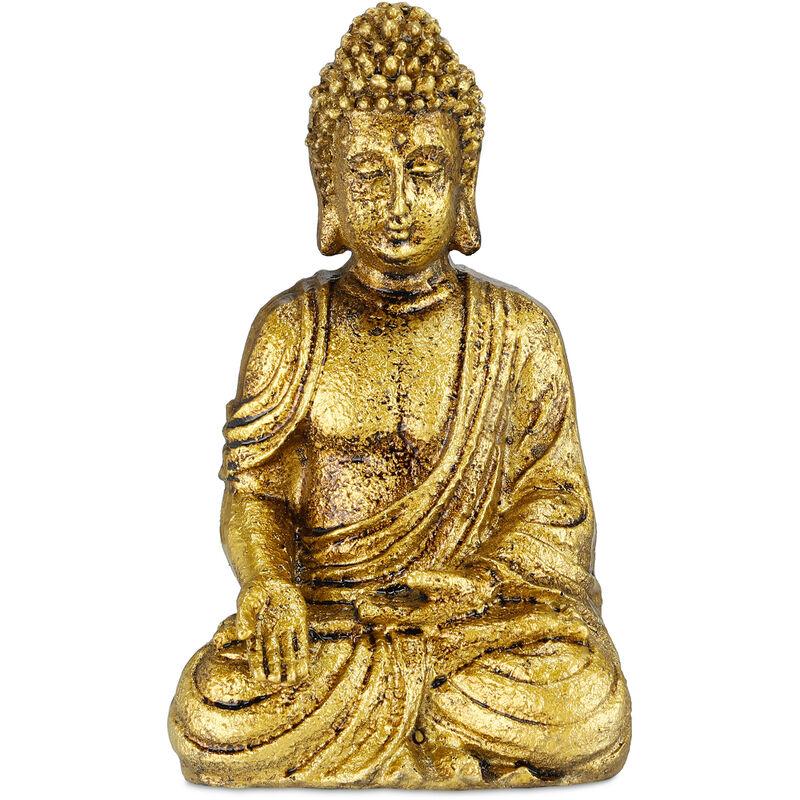 Statue de Bouddha jardin, résistant aux intempéries et au gel, assis, objet déco, HLP 17 x 10 x 7 cm, doré