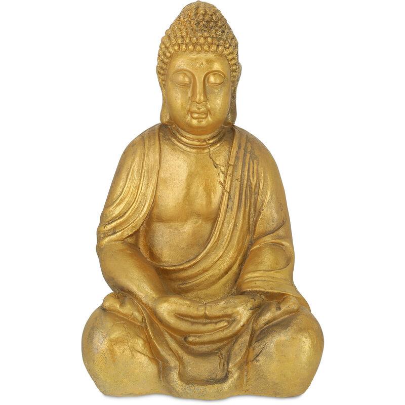 Statue de Bouddha jardin, résistant aux intempéries et au gel, assis, objet déco, HLP 50,5 x 33 x 27 cm, doré