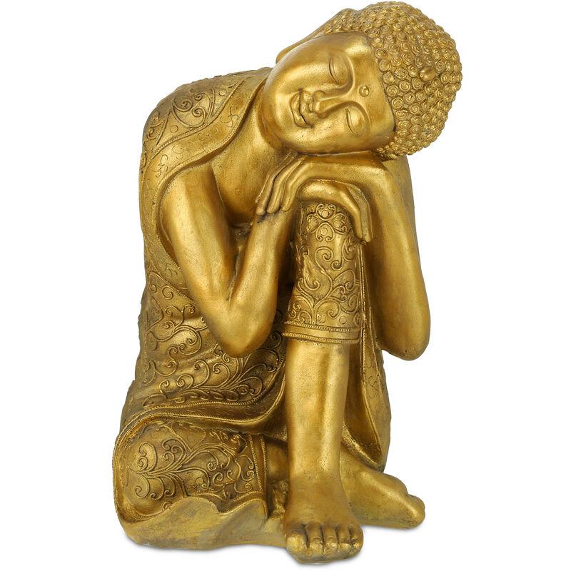 Statue de Bouddha jardin, résistant aux intempéries et au gel, repos, objet déco XL, HLP 61 x 40 x 37 cm, doré