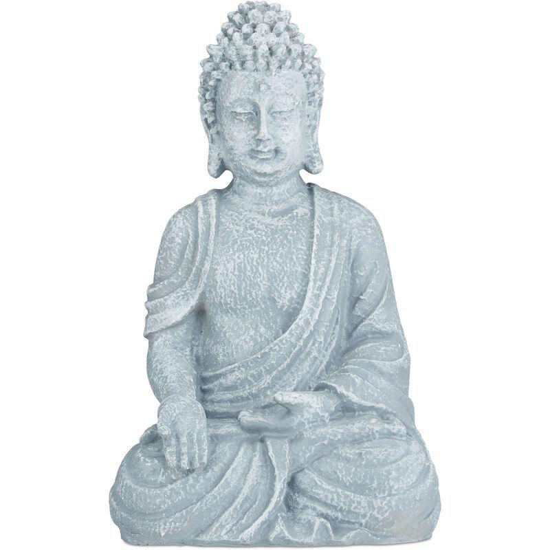 Statue de Buddha figurine de Bouddha décoration jardin sculpture céramique Zen 40 cm, gris clair