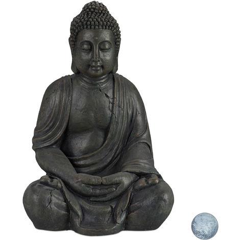 Statue de Buddha figurine de Bouddha décoration jardin sculpture céramique Zen 70 cm, gris foncé