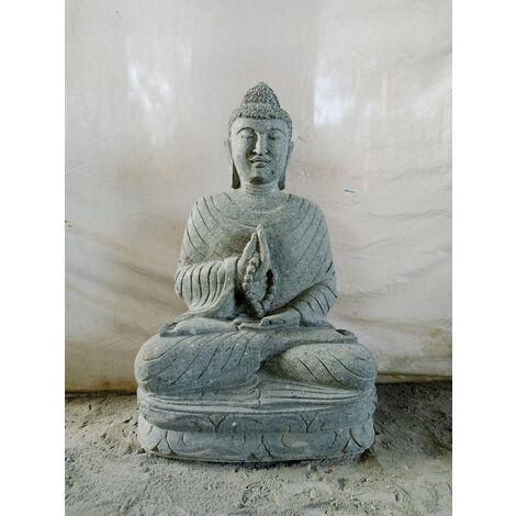 Statue de jardin Bouddha assis en pierre chakra et chapelet 80cm