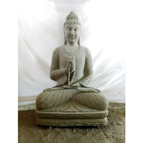 Statue de jardin Bouddha en pierre position chakra et chapelet 1m