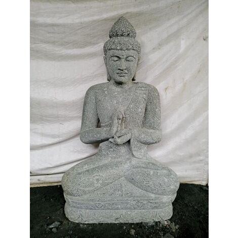 Statue de jardin Bouddha en pierre volcanique position Chakra 1,20 m