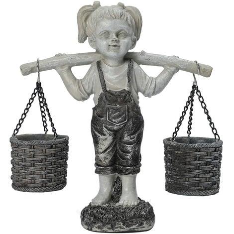 Statue de jardin de petite fille chargee, Felicity Flowers Statues de jardin exterieur en pierre a deux tons decorations de jardin