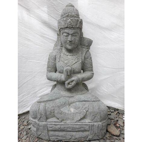Statue de jardin en pierre volcanique déesse balinaise 1m