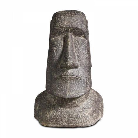 Statue de jardin île de pâques en pierre 60cm - Gris