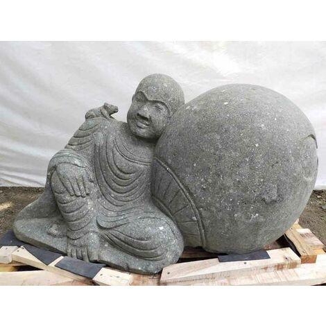 Statue de jardin moine allongé en pierre massive 1m