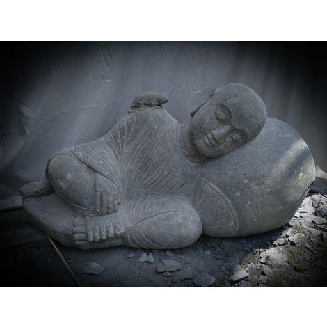 Statue de jardin moine Shaolin extérieur zen en pierre naturelle 100 cm