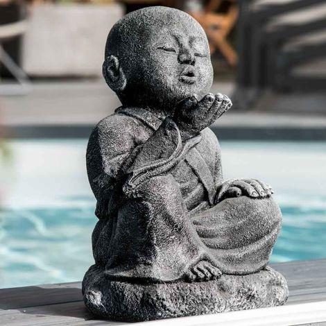 """main image of """"Statue de jardin moine Shaolin heureux patiné gris 40 cm"""""""